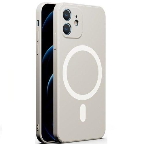 Apple iPhone 12 Pro, Szilikon tok, mágnes gyűrűvel, MagSafe töltővel kompatibilis, Wooze Magsafe Case, fehér