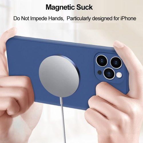 Apple iPhone 12 Pro, Szilikon tok, mágnes gyűrűvel, MagSafe töltővel kompatibilis, Wooze Magsafe Case, fekete