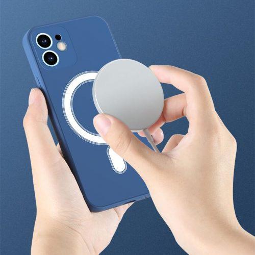 Apple iPhone 12 Pro, Szilikon tok, mágnes gyűrűvel, MagSafe töltővel kompatibilis, Wooze Magsafe Case, zöld