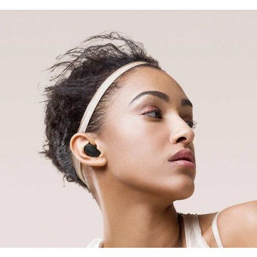 Bluetooth sztereó fülhallgató, v5.0, TWS, töltőtok, vezérlő gomb, zajszűrővel, vízálló, Wooze EarBuds Pro, fekete