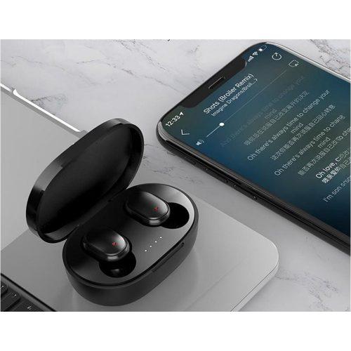 Bluetooth sztereó fülhallgató, v5.0, TWS, töltőtok, vezérlő gomb, zajszűrővel, vízálló, Wooze EarBuds Pro, fehér