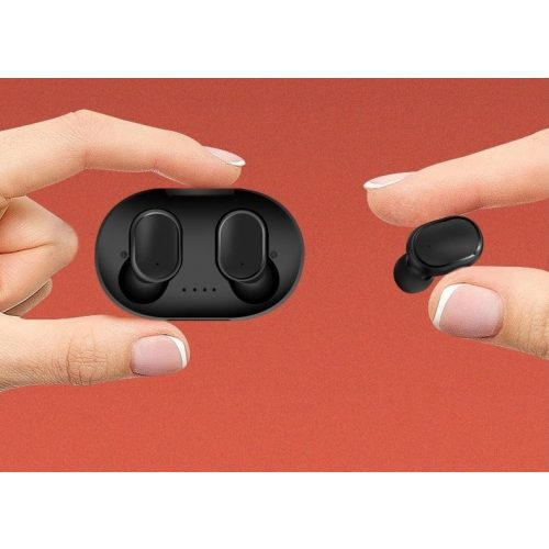 Bluetooth sztereó fülhallgató, v5.0, TWS, töltőtok, vezérlő gomb, zajszűrővel, vízálló, Wooze EarBuds Pro, zöld