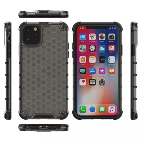 Apple iPhone 12 Mini, Műanyag hátlap védőtok, közepesen ütésálló, légpárnás sarok, méhsejt minta, Wooze Honey, fekete