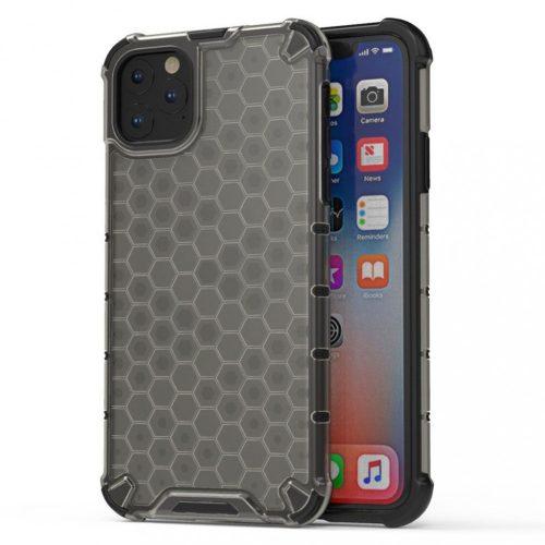 Apple iPhone 11 Pro, Műanyag hátlap védőtok, közepesen ütésálló, légpárnás sarok, méhsejt minta, Wooze Honey, fekete