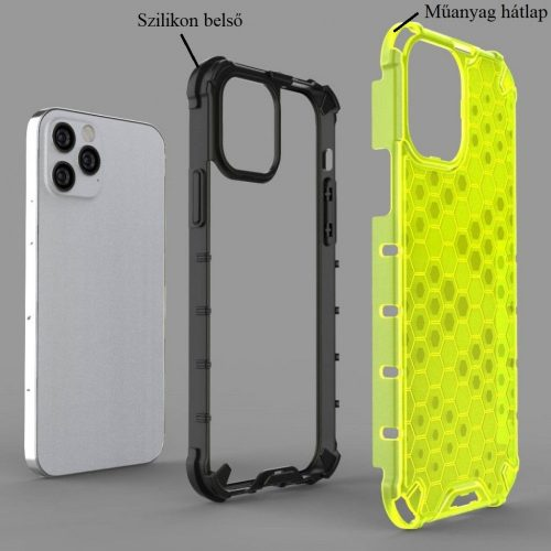 Apple iPhone 12 Pro Max, Műanyag hátlap védőtok, közepesen ütésálló, légpárnás sarok, méhsejt minta, Wooze Honey, fekete