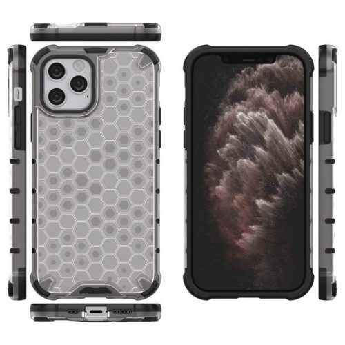Apple iPhone 11, Műanyag hátlap védőtok, közepesen ütésálló, légpárnás sarok, méhsejt minta, Wooze Honey, fehér