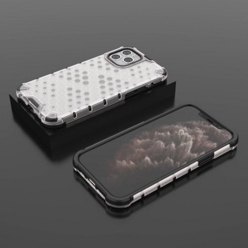 Apple iPhone 12 / 12 Pro, Műanyag hátlap védőtok, közepesen ütésálló, légpárnás sarok, méhsejt minta, Wooze Honey, fehér
