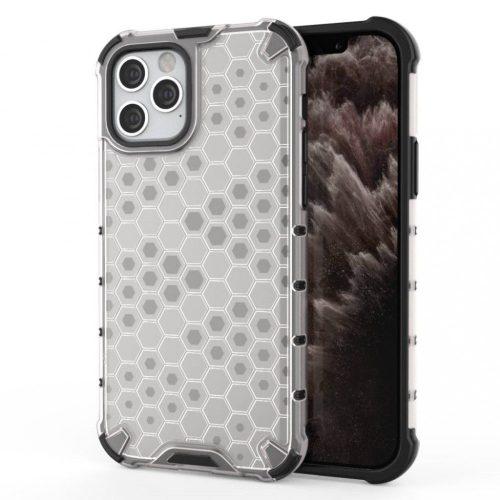 Apple iPhone 12 Pro Max, Műanyag hátlap védőtok, közepesen ütésálló, légpárnás sarok, méhsejt minta, Wooze Honey, fehér