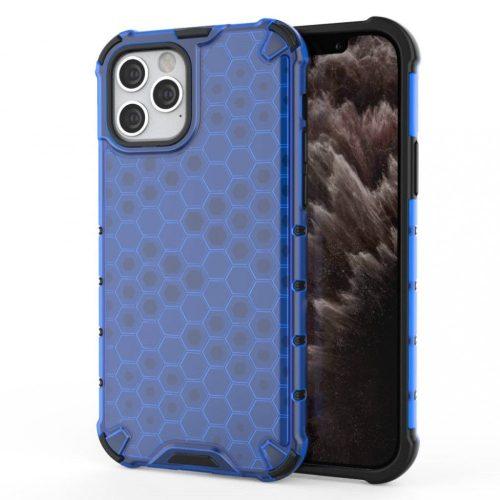 Apple iPhone 11, Műanyag hátlap védőtok, közepesen ütésálló, légpárnás sarok, méhsejt minta, Wooze Honey, kék
