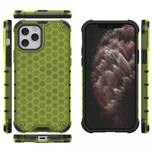 Apple iPhone 12 Mini, Műanyag hátlap védőtok, közepesen ütésálló, légpárnás sarok, méhsejt minta, Wooze Honey, sárga