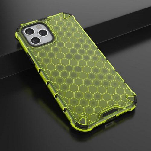 Apple iPhone 12 Pro Max, Műanyag hátlap védőtok, közepesen ütésálló, légpárnás sarok, méhsejt minta, Wooze Honey, sárga