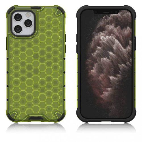 Apple iPhone X / XS, Műanyag hátlap védőtok, közepesen ütésálló, légpárnás sarok, méhsejt minta, Wooze Honey, sárga