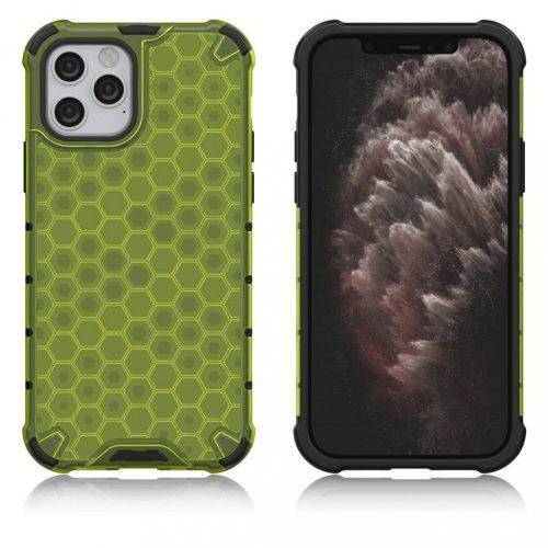 Apple iPhone XR, Műanyag hátlap védőtok, közepesen ütésálló, légpárnás sarok, méhsejt minta, Wooze Honey, sárga