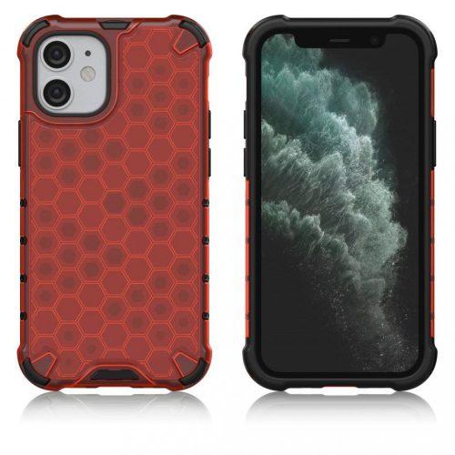 Apple iPhone 11 Pro, Műanyag hátlap védőtok, közepesen ütésálló, légpárnás sarok, méhsejt minta, Wooze Honey, piros
