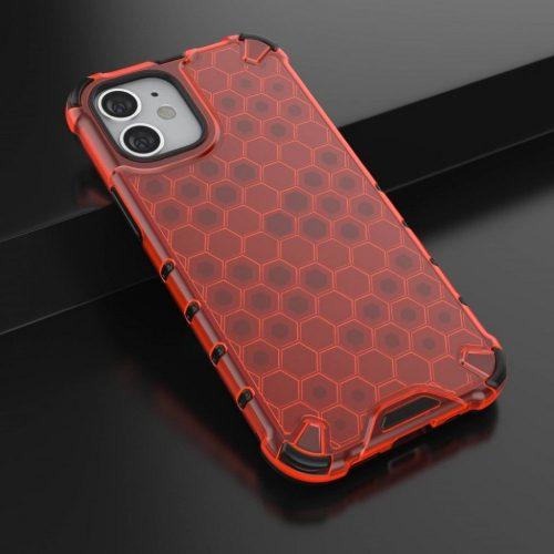 Apple iPhone 12 / 12 Pro, Műanyag hátlap védőtok, közepesen ütésálló, légpárnás sarok, méhsejt minta, Wooze Honey, piros