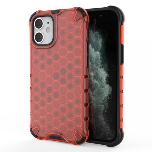 Apple iPhone 12 Mini, Műanyag hátlap védőtok, közepesen ütésálló, légpárnás sarok, méhsejt minta, Wooze Honey, piros