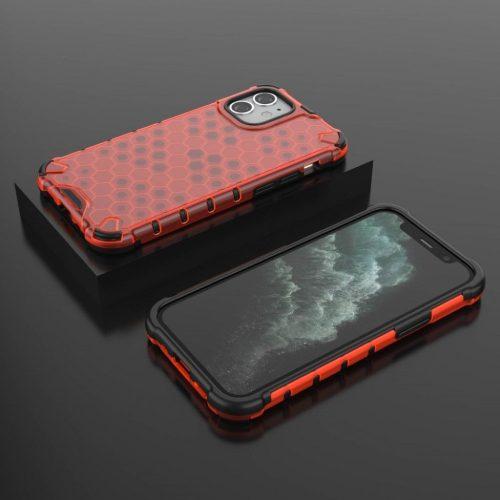Apple iPhone 12 Pro Max, Műanyag hátlap védőtok, közepesen ütésálló, légpárnás sarok, méhsejt minta, Wooze Honey, piros