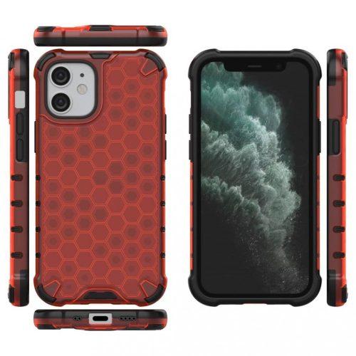 Apple iPhone X / XS, Műanyag hátlap védőtok, közepesen ütésálló, légpárnás sarok, méhsejt minta, Wooze Honey, piros