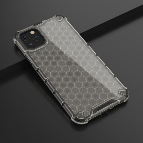 Samsung Galaxy A02 SM-A022F, Műanyag hátlap védőtok, közepesen ütésálló, légpárnás sarok, méhsejt minta, Wooze Honey, fekete
