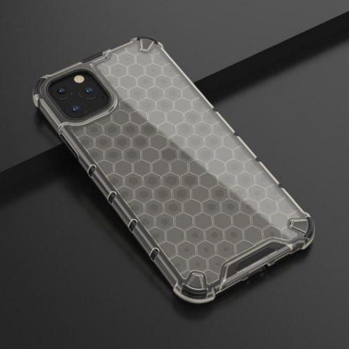 Samsung Galaxy A41 SM-A415F, Műanyag hátlap védőtok, közepesen ütésálló, légpárnás sarok, méhsejt minta, Wooze Honey, fekete