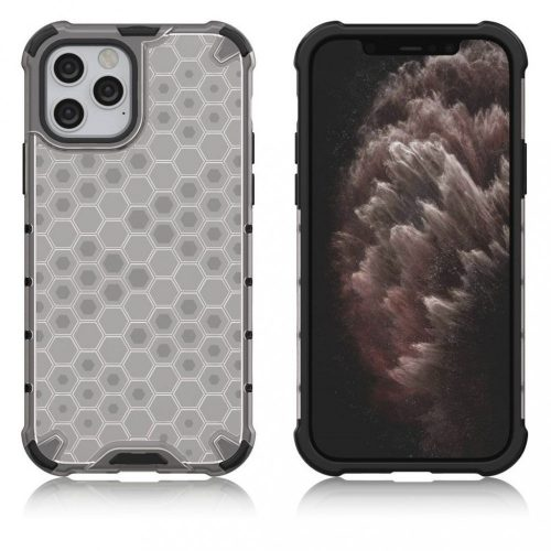 Samsung Galaxy Note 20 / 20 5G SM-N980 / N981, Műanyag hátlap védőtok, közepesen ütésálló, légpárnás sarok, méhsejt minta, Wooze Honey, fehér