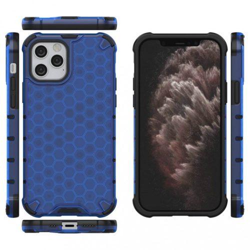 Samsung Galaxy A02 SM-A022F, Műanyag hátlap védőtok, közepesen ütésálló, légpárnás sarok, méhsejt minta, Wooze Honey, kék
