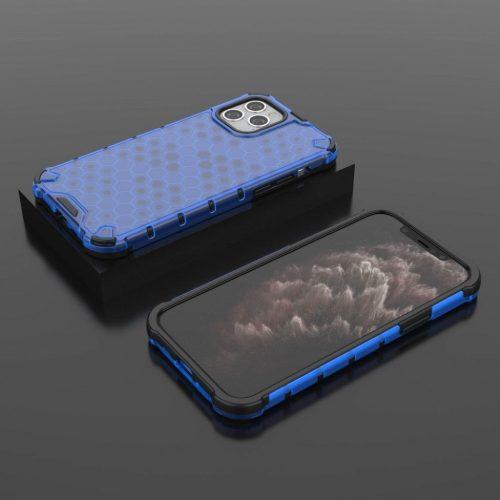 Samsung Galaxy A12 SM-A125F, Műanyag hátlap védőtok, közepesen ütésálló, légpárnás sarok, méhsejt minta, Wooze Honey, kék