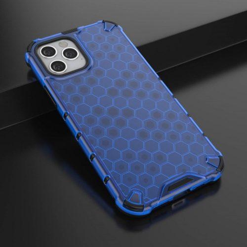 Samsung Galaxy A21s SM-A217F, Műanyag hátlap védőtok, közepesen ütésálló, légpárnás sarok, méhsejt minta, Wooze Honey, kék