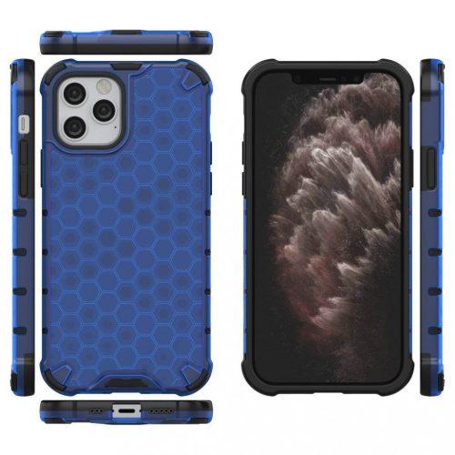 Samsung Galaxy A51 SM-A515F, Műanyag hátlap védőtok, közepesen ütésálló, légpárnás sarok, méhsejt minta, Wooze Honey, kék