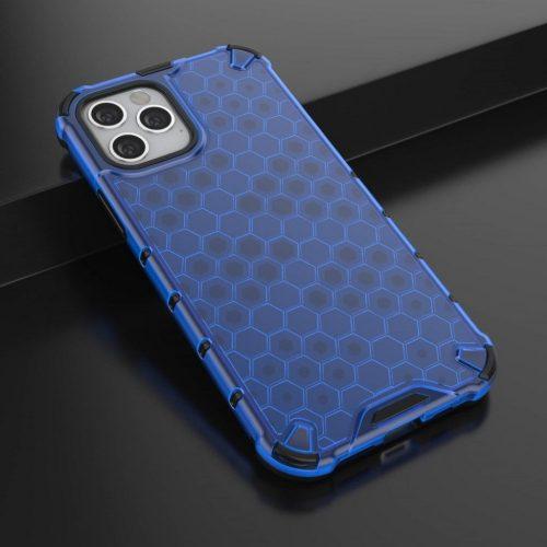 Samsung Galaxy A71 SM-A715F, Műanyag hátlap védőtok, közepesen ütésálló, légpárnás sarok, méhsejt minta, Wooze Honey, kék