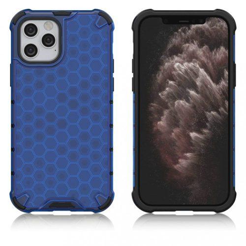 Samsung Galaxy S10 SM-G973, Műanyag hátlap védőtok, közepesen ütésálló, légpárnás sarok, méhsejt minta, Wooze Honey, kék
