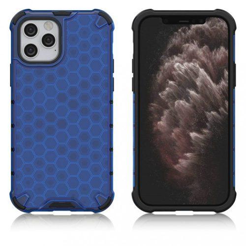 Samsung Galaxy S20 Plus / S20 Plus 5G SM-G985 / G986, Műanyag hátlap védőtok, közepesen ütésálló, légpárnás sarok, méhsejt minta, Wooze Honey, kék