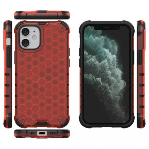 Samsung Galaxy A32 4G SM-A325F, Műanyag hátlap védőtok, közepesen ütésálló, légpárnás sarok, méhsejt minta, Wooze Honey, piros