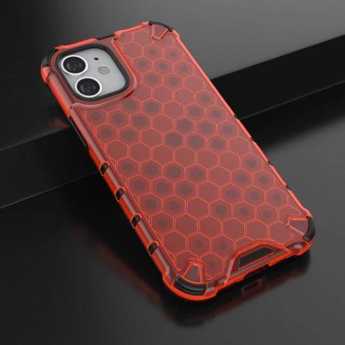 Samsung Galaxy A51 SM-A515F, Műanyag hátlap védőtok, közepesen ütésálló, légpárnás sarok, méhsejt minta, Wooze Honey, piros