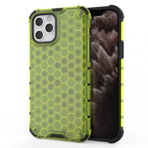 Samsung Galaxy A11 / M11 SM-A115F / M115F, Műanyag hátlap védőtok, közepesen ütésálló, légpárnás sarok, méhsejt minta, Wooze Honey, sárga