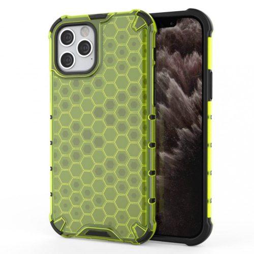 Samsung Galaxy A12 SM-A125F, Műanyag hátlap védőtok, közepesen ütésálló, légpárnás sarok, méhsejt minta, Wooze Honey, sárga