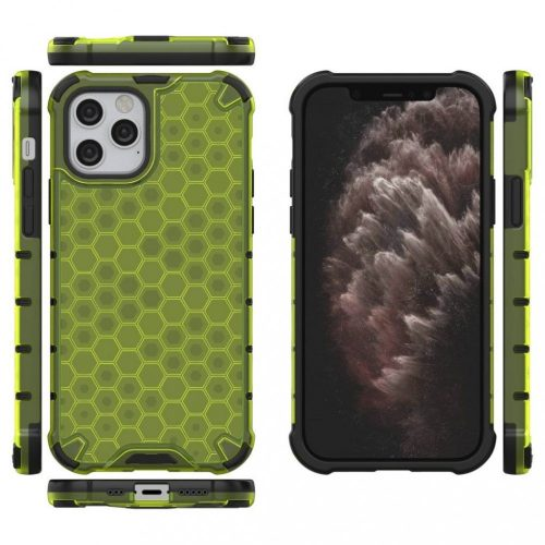 Samsung Galaxy A40 SM-A405F, Műanyag hátlap védőtok, közepesen ütésálló, légpárnás sarok, méhsejt minta, Wooze Honey, sárga