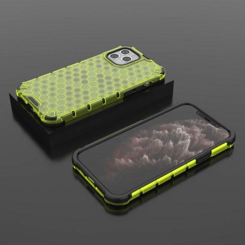 Samsung Galaxy S21 5G SM-G991, Műanyag hátlap védőtok, közepesen ütésálló, légpárnás sarok, méhsejt minta, Wooze Honey, sárga