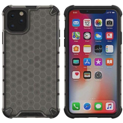 OnePlus 9, Műanyag hátlap védőtok, közepesen ütésálló, légpárnás sarok, méhsejt minta, Wooze Honey, fekete