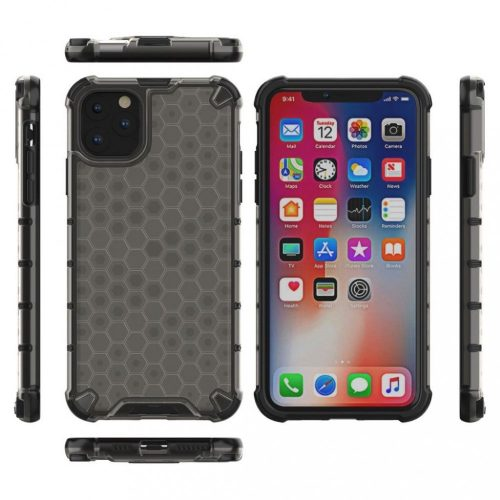 OnePlus 9 Pro, Műanyag hátlap védőtok, közepesen ütésálló, légpárnás sarok, méhsejt minta, Wooze Honey, fekete
