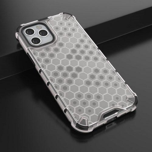 Huawei P20, Műanyag hátlap védőtok, közepesen ütésálló, légpárnás sarok, méhsejt minta, Wooze Honey, fehér
