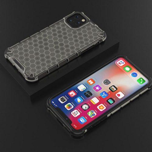 Xiaomi Redmi Note 9 5G, Műanyag hátlap védőtok, közepesen ütésálló, légpárnás sarok, méhsejt minta, Wooze Honey, fekete