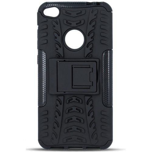 Huawei Honor 30, Műanyag hátlap védőtok, Defender, kitámasztóval és szilikon belsővel, autógumi minta, fekete