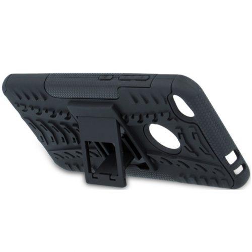 Huawei Honor 30S, Műanyag hátlap védőtok, Defender, kitámasztóval és szilikon belsővel, autógumi minta, fekete