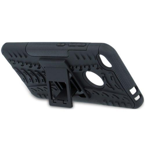 Huawei Honor 30 Pro / 30 Pro Plus, Műanyag hátlap védőtok, Defender, kitámasztóval és szilikon belsővel, autógumi minta, fekete
