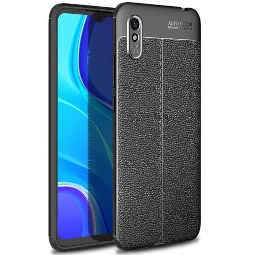 Huawei Honor 10X Lite, Szilikon tok, bőrhatású, varrásminta, fekete