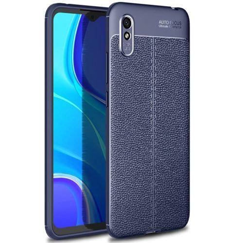 Huawei Honor 10X Lite, Szilikon tok, bőrhatású, varrásminta, sötétkék