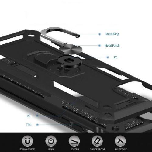 Huawei Honor 10X Lite, Műanyag hátlap védőtok, közepesen ütésálló, szilikon belső, telefontartó gyűrű, Defender, ezüst
