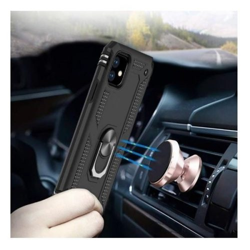 Huawei Honor 30, Műanyag hátlap védőtok, közepesen ütésálló, szilikon belső, telefontartó gyűrű, Defender, fekete
