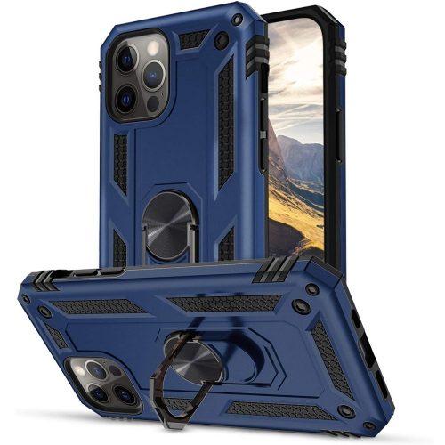 Huawei Honor 30 Lite / 30 Youth, Műanyag hátlap védőtok, közepesen ütésálló, szilikon belső, telefontartó gyűrű, Defender, sötétkék
